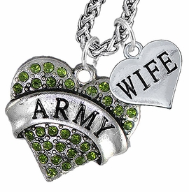 "<Br>             WHOLESALE ARMY MILITARY JEWELRY   <BR>                     AN ALLAN ROBIN DESIGN!!  <Br>               CADMIUM, LEAD & NICKEL FREE!!   <Br> W1480-1876N14 - ""ARMY - WIFE"" HEART   <BR>CHARMS ON CHAIN OF HEART LOBSTER CLASP CHAIN  <BR>         NECKLACE FROM $8.50 TO $10.50 �2016"