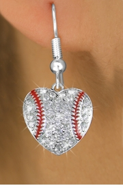 <BR>  WHOLESALE SPORTS FASHION EARRINGS <bR>                EXCLUSIVELY OURS!! <Br>           AN ALLAN ROBIN DESIGN!! <BR>     LEAD, NICKEL & CADMIUM FREE!! <BR>   W1515SE - SILVER TONE AND CLEAR <BR> CRYSTAL BASEBALL HEART SHAPED CHARM <BR>   EARRINGS FROM $5.40 TO $10.45 �2013