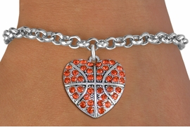 <BR>    WHOLESALE SPORTS FASHION JEWELRY <bR>                  EXCLUSIVELY OURS!! <Br>             AN ALLAN ROBIN DESIGN!! <BR>    CLICK HERE TO SEE 1000+ EXCITING <BR>          CHANGES THAT YOU CAN MAKE! <BR>       LEAD, NICKEL & CADMIUM FREE!! <BR>    W1516SB - SILVER TONE AND ORANGE <BR>  CRYSTAL BASKETBALL HEART CHARM AND <BR>  BRACELET FROM $5.40 TO $9.85 �2013