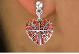 <BR>  WHOLESALE SPORTS FASHION EARRINGS <bR>                EXCLUSIVELY OURS!! <Br>           AN ALLAN ROBIN DESIGN!! <BR>     LEAD, NICKEL & CADMIUM FREE!! <BR>  W1516SE - SILVER TONE AND ORANGE <BR> CRYSTAL BASKETBALL HEART SHAPED CHARM <BR>   EARRINGS FROM $5.40 TO $10.45 �2013