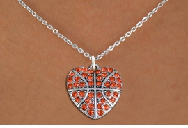 <BR> WHOLESALE SPORTS LOVER COSTUME JEWELRY <bR>                    EXCLUSIVELY OURS!! <Br>               AN ALLAN ROBIN DESIGN!! <BR>      CLICK HERE TO SEE 1000+ EXCITING <BR>            CHANGES THAT YOU CAN MAKE! <BR>         LEAD, NICKEL & CADMIUM FREE!! <BR> W1516SN - SPORTY SILVER TONE AND ORANGE <BR>   CRYSTAL BASKETBALL HEART SHAPED CHARM <BR> AND NECKLACE FROM $5.40 TO $9.85 �2013