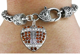 <BR>    WHOLESALE FASHION SPORTS JEWELRY <bR>                  EXCLUSIVELY OURS!! <Br>             AN ALLAN ROBIN DESIGN!! <BR>       LEAD, NICKEL & CADMIUM FREE!! <BR>  W1517SB - ANTIQUED SILVER TONE AND <BR>  TOPAZ CRYSTAL FOOTBALL HEART CHARM <BR>     ON HEART LOBSTER CLASP BRACELET <Br>       FROM $5.63 TO $12.50 �2013