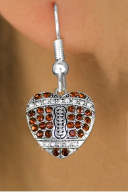 <BR>  WHOLESALE SPORTS FASHION EARRINGS <bR>                EXCLUSIVELY OURS!! <Br>           AN ALLAN ROBIN DESIGN!! <BR>     LEAD, NICKEL & CADMIUM FREE!! <BR> W1517SE - SILVER TONE AND TOPAZ TONE <BR> CRYSTAL FOOTBALL HEART SHAPED CHARM <BR>   EARRINGS FROM $5.40 TO $10.45 �2013