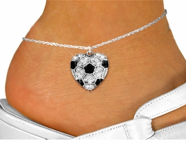<bR>      WHOLESALE SPORTS LOVER JEWELRY <BR>                    EXCLUSIVELY OURS!! <BR>               AN ALLAN ROBIN DESIGN!! <BR>         LEAD, NICKEL & CADMIUM FREE!! <BR>   W1518SAK - DETAILED SILVER TONE AND <BR>     CLEAR CRYSTAL SOCCER HEART CHARM <Br>      ANKLET FROM $5.40 TO $9.85 �2013