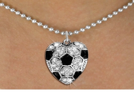 <BR> WHOLESALE SPORTS LOVER COSTUME JEWELRY <bR>                    EXCLUSIVELY OURS!! <Br>               AN ALLAN ROBIN DESIGN!! <BR>      CLICK HERE TO SEE 1000+ EXCITING <BR>            CHANGES THAT YOU CAN MAKE! <BR>         LEAD, NICKEL & CADMIUM FREE!! <BR> W1518SN - SPORTY SILVER TONE AND CLEAR <BR>    CRYSTAL SOCCER HEART SHAPED CHARM <BR> AND NECKLACE FROM $5.40 TO $9.85 �2013