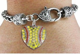 <BR>    WHOLESALE FASHION SPORTS JEWELRY <bR>                  EXCLUSIVELY OURS!! <Br>             AN ALLAN ROBIN DESIGN!! <BR>       LEAD, NICKEL & CADMIUM FREE!! <BR>  W1519SB - ANTIQUED SILVER TONE AND <BR>  YELLOW CRYSTAL SOFTBALL HEART CHARM <BR>     ON HEART LOBSTER CLASP BRACELET <Br>       FROM $5.63 TO $12.50 �2013