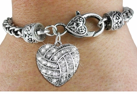 <BR>    WHOLESALE FASHION SPORTS JEWELRY <bR>                  EXCLUSIVELY OURS!! <Br>             AN ALLAN ROBIN DESIGN!! <BR>       LEAD, NICKEL & CADMIUM FREE!! <BR>  W1520SB - ANTIQUED SILVER TONE AND <BR> CLEAR CRYSTAL VOLLEYBALL HEART CHARM <BR>     ON HEART LOBSTER CLASP BRACELET <Br>       FROM $5.63 TO $12.50 �2013