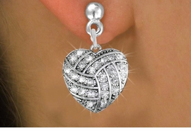 <BR>  WHOLESALE SPORTS FASHION EARRINGS <bR>                EXCLUSIVELY OURS!! <Br>           AN ALLAN ROBIN DESIGN!! <BR>     LEAD, NICKEL & CADMIUM FREE!! <BR>   W1520SE - SILVER TONE AND CLEAR <BR> CRYSTAL VOLLEYBALL HEART SHAPED CHARM <BR>   EARRINGS FROM $5.40 TO $10.45 �2013