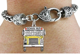 <BR> WHOLESALE EDUCATION FASHION JEWELRY <bR>                  EXCLUSIVELY OURS!! <Br>             AN ALLAN ROBIN DESIGN!! <BR>       LEAD, NICKEL & CADMIUM FREE!! <BR> W1523SB - SILVER TONE AND YELLOW FILL <BR> WITH CLEAR CRYSTAL SCHOOL BUS CHARM <BR>     ON HEART LOBSTER CLASP BRACELET <Br>       FROM $5.98 TO $12.85 �2013