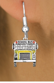 <BR> WHOLESALE EDUCATION FASHION EARRINGS <bR>                EXCLUSIVELY OURS!! <Br>           AN ALLAN ROBIN DESIGN!! <BR>     LEAD, NICKEL & CADMIUM FREE!! <BR>  W1523SE - SILVER TONE AND YELLOW FILL <BR> WITH CLEAR CRYSTAL SCHOOL BUS CHARM <BR>   EARRINGS FROM $5.40 TO $10.45 �2013