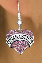 "<BR>  WHOLESALE HEART FASHION EARRINGS <bR>                 EXCLUSIVELY OURS!! <Br>            AN ALLAN ROBIN DESIGN!! <BR>      LEAD, NICKEL & CADMIUM FREE!! <BR>  W1525SE - ANTIQUED SILVER TONE AND <BR> PINK CRYSTAL ""GYMNASTICS"" HEART CHARM <BR>    EARRINGS FROM $5.40 TO $10.45 �2013"