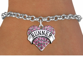 "<BR>  WHOLESALE HEART FASHION JEWELRY <bR>                   EXCLUSIVELY OURS!! <Br>              AN ALLAN ROBIN DESIGN!! <BR>        LEAD, NICKEL & CADMIUM FREE!! <BR>   W1526SB - ANTIQUED SILVER TONE AND <BR>    PINK CRYSTAL ""RUNNER"" HEART CHARM <BR>      ON HEART LOBSTER CLASP BRACELET <Br>        FROM $5.98 TO $12.85 �2013"