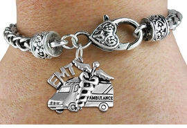 <bR>       WHOLESALE EMT CHARM BRACELET <BR>                     EXCLUSIVELY OURS!! <BR>                AN ALLAN ROBIN DESIGN!! <BR>          CADMIUM, LEAD & NICKEL FREE!! <BR>        W1530SB - DETAILED SILVER TONE  <BR>EMT AMBULANCE CHARM & HEART CLASP <BR>      BRACELET FROM $4.40 TO $9.20 �2013
