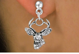 <BR>  WHOLESALE HUNTING FASHION EARRINGS <bR>                 EXCLUSIVELY OURS!! <Br>            AN ALLAN ROBIN DESIGN!! <BR>      LEAD, NICKEL & CADMIUM FREE!! <BR>  W1533SE - ANTIQUED SILVER TONE AND <BR>AUSTRIAN CLEAR CRYSTAL DEER HEAD CHARM <BR>    EARRINGS FROM $5.40 TO $10.45 �2013