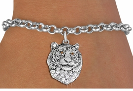 <BR> WHOLESALE ANIMIAL FASHION JEWELRY <bR>                   EXCLUSIVELY OURS!! <Br>              AN ALLAN ROBIN DESIGN!! <BR>     CLICK HERE TO SEE 1000+ EXCITING <BR>           CHANGES THAT YOU CAN MAKE! <BR>        LEAD, NICKEL & CADMIUM FREE!! <BR>   W1534SB - ANTIQUED SILVER TONE AND <BR>CLEAR CRYSTAL TIGER HEAD CHARM <BR>   BRACELET FROM $5.40 TO $9.85 �2013