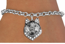 <BR> WHOLESALE ANIMIAL FASHION JEWELRY <bR>                   EXCLUSIVELY OURS!! <Br>              AN ALLAN ROBIN DESIGN!! <BR>     CLICK HERE TO SEE 1000+ EXCITING <BR>           CHANGES THAT YOU CAN MAKE! <BR>        LEAD, NICKEL & CADMIUM FREE!! <BR>   W1535SB - ANTIQUED SILVER TONE AND <BR>CLEAR CRYSTAL WOLF HEAD CHARM <BR>   BRACELET FROM $5.40 TO $9.85 �2013
