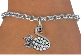 <BR> WHOLESALE ANIMIAL FASHION JEWELRY <bR>                   EXCLUSIVELY OURS!! <Br>              AN ALLAN ROBIN DESIGN!! <BR>     CLICK HERE TO SEE 1000+ EXCITING <BR>           CHANGES THAT YOU CAN MAKE! <BR>        LEAD, NICKEL & CADMIUM FREE!! <BR>   W1536SB - ANTIQUED SILVER TONE AND <BR>AURORA BOREALIS CRYSTAL SWAN CHARM <BR>       BRACELET FROM $5.40 TO $9.85 �2013