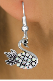 <BR>  WHOLESALE ANIMAL FASHION EARRINGS <bR>                 EXCLUSIVELY OURS!! <Br>            AN ALLAN ROBIN DESIGN!! <BR>      LEAD, NICKEL & CADMIUM FREE!! <BR>  W1536SE - ANTIQUED SILVER TONE AND <BR>AURORA BOREALIS CRYSTAL SWAN CHARM <BR>    EARRINGS FROM $5.40 TO $10.45 �2013