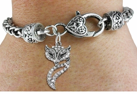 <BR>   WHOLESALE FASHION ANIMAL JEWELRY <bR>                 EXCLUSIVELY OURS!! <Br>            AN ALLAN ROBIN DESIGN!! <BR>      LEAD, NICKEL & CADMIUM FREE!! <BR> W1538SB - ANTIQUED SILVER TONE AND <BR>CLEAR CRYSTAL FOXY VIXEN CHARM <BR>    ON HEART LOBSTER CLASP BRACELET <Br>      FROM $5.98 TO $12.85 �2013