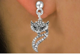 <BR> WHOLESALE ANIMAL FASHION EARRINGS <bR>               EXCLUSIVELY OURS!! <Br>          AN ALLAN ROBIN DESIGN!! <BR>    LEAD, NICKEL & CADMIUM FREE!! <BR> W1538SE - ANTIQUED SILVER TONE AND <BR>CLEAR CRYSTAL FOXY VIXEN CHARM <BR>      EARRINGS FROM $5.40 TO $10.45 �2013