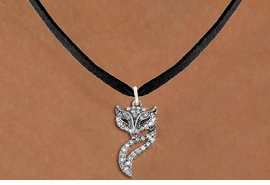 <BR>   WHOLESALE ANIMAL NECKLACE JEWELRY <bR>                   EXCLUSIVELY OURS!! <Br>              AN ALLAN ROBIN DESIGN!! <BR>     CLICK HERE TO SEE 1000+ EXCITING <BR>           CHANGES THAT YOU CAN MAKE! <BR>        LEAD, NICKEL & CADMIUM FREE!! <BR>   W1538SN - ANTIQUED SILVER TONE AND <BR>CLEAR CRYSTAL FOXY VIXEN CHARM <BR>   NECKLACE FROM $5.40 TO $9.85 �2013