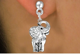 <BR> WHOLESALE ANIMAL FASHION EARRINGS <bR>               EXCLUSIVELY OURS!! <Br>          AN ALLAN ROBIN DESIGN!! <BR>    LEAD, NICKEL & CADMIUM FREE!! <BR> W1541SE - ANTIQUED SILVER TONE AND <BR>GENUINE CLEAR CRYSTAL ELEPHANT CHARM <BR>  EARRINGS FROM $5.40 TO $10.45 �2013