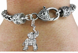 <BR>   WHOLESALE ANIMAL FASHION JEWELRY <bR>                 EXCLUSIVELY OURS!! <Br>            AN ALLAN ROBIN DESIGN!! <BR>      LEAD, NICKEL & CADMIUM FREE!! <BR> W1542SB - ANTIQUED SILVER TONE AND <BR> GENUINE CLEAR CRYSTAL ELEPHANT CHARM <BR>    ON HEART LOBSTER CLASP BRACELET <Br>      FROM $5.98 TO $12.85 �2013