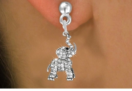 <BR> WHOLESALE ANIMAL FASHION EARRINGS <bR>               EXCLUSIVELY OURS!! <Br>          AN ALLAN ROBIN DESIGN!! <BR>    LEAD, NICKEL & CADMIUM FREE!! <BR> W1542SE - ANTIQUED SILVER TONE AND <BR>GENUINE CLEAR CRYSTAL ELEPHANT CHARM <BR>  EARRINGS FROM $5.40 TO $10.45 �2013