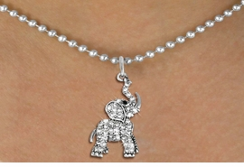 <BR>   WHOLESALE ANIMAL NECKLACE JEWELRY <bR>                   EXCLUSIVELY OURS!! <Br>              AN ALLAN ROBIN DESIGN!! <BR>     CLICK HERE TO SEE 1000+ EXCITING <BR>           CHANGES THAT YOU CAN MAKE! <BR>        LEAD, NICKEL & CADMIUM FREE!! <BR>   W1542SN - ANTIQUED SILVER TONE AND <BR>AUSTRIAN CLEAR CRYSTAL ELEPHANT CHARM  <BR>    NECKLACE FROM $5.40 TO $9.85 �2013