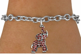 <BR>   WHOLESALE ANIMAL FASHION JEWELRY <bR>                 EXCLUSIVELY OURS!! <Br>            AN ALLAN ROBIN DESIGN!! <BR>   CLICK HERE TO SEE 1000+ EXCITING <BR>         CHANGES THAT YOU CAN MAKE! <BR>      LEAD, NICKEL & CADMIUM FREE!! <BR> W1544SB - ANTIQUED SILVER TONE <BR> AND RED CRYSTAL ELEPHANT CHARM <BR> BRACELET FROM $5.40 TO $9.85 �2013