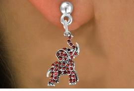 <BR> WHOLESALE ANIMAL FASHION EARRINGS <bR>               EXCLUSIVELY OURS!! <Br>          AN ALLAN ROBIN DESIGN!! <BR>    LEAD, NICKEL & CADMIUM FREE!! <BR> W1544SE - ANTIQUED SILVER TONE AND <BR>GENUINE RED CRYSTAL ELEPHANT CHARM <BR>  EARRINGS FROM $5.40 TO $10.45 �2013
