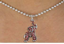 <BR>   WHOLESALE ANIMAL NECKLACE JEWELRY <bR>                   EXCLUSIVELY OURS!! <Br>              AN ALLAN ROBIN DESIGN!! <BR>     CLICK HERE TO SEE 1000+ EXCITING <BR>           CHANGES THAT YOU CAN MAKE! <BR>        LEAD, NICKEL & CADMIUM FREE!! <BR>   W1544SN - ANTIQUED SILVER TONE AND <BR> AUSTRIAN RED CRYSTAL ELEPHANT CHARM  <BR>    NECKLACE FROM $5.40 TO $9.85 �2013