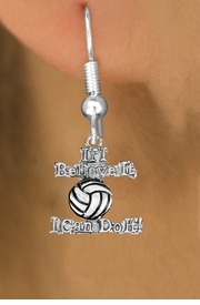 """<br>        WHOLESALE SPORTS EARRINGS <bR>                 EXCLUSIVELY OURS!! <BR>            AN ALLAN ROBIN DESIGN!! <BR>      CADMIUM, LEAD & NICKEL FREE!! <BR>    W1546SE - BEAUTIFUL SILVER TONE <Br>""""IF I BELIEVE IT, I CAN DO IT!"""" <BR>     VOLLEYBALL CHARM EARRINGS <BR>          FROM $3.65 TO $8.40 �2013"""