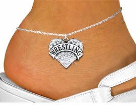 "<bR>      WHOLESALE SPORTS JEWELRY <BR>                     EXCLUSIVELY OURS!! <BR>                AN ALLAN ROBIN DESIGN!! <BR>          LEAD, NICKEL & CADMIUM FREE!! <BR>     W1548SAK - SILVER TONE AND GENUINE <BR>CLEAR CRYSTAL ""WRESTLING"" HEART CHARM <Br>   AND ANKLET FROM $4.70 TO $9.35 �2013"