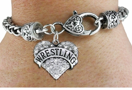 "<BR>  WHOLESALE SPORTS WRIST JEWELRY <bR>                   EXCLUSIVELY OURS!! <Br>              AN ALLAN ROBIN DESIGN!! <BR>        LEAD, NICKEL & CADMIUM FREE!! <BR>   W1548SB - ANTIQUED SILVER TONE AND <BR>CLEAR CRYSTAL ""WRESTLING"" HEART CHARM <BR>      ON HEART LOBSTER CLASP BRACELET <Br>        FROM $5.98 TO $12.85 �2013"
