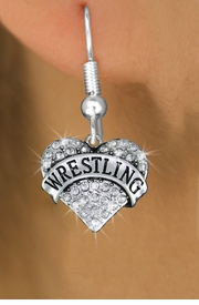 "<BR>  WHOLESALE SPORTS HEART EARRINGS <bR>                 EXCLUSIVELY OURS!! <Br>            AN ALLAN ROBIN DESIGN!! <BR>      LEAD, NICKEL & CADMIUM FREE!! <BR>  W1548SE - ANTIQUED SILVER TONE AND <BR>CLEAR CRYSTAL ""WRESTLING"" HEART CHARM <BR>    EARRINGS FROM $5.40 TO $10.45 �2013"