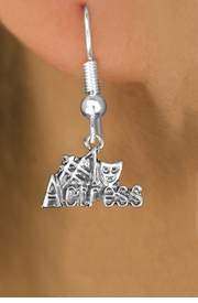 "<br>        WHOLESALE COSTUME EARRINGS <bR>                 EXCLUSIVELY OURS!! <BR>            AN ALLAN ROBIN DESIGN!! <BR>      CADMIUM, LEAD & NICKEL FREE!! <BR>    W1549SE - BEAUTIFUL SILVER TONE <Br>""#1 ACTRESS"" WITH MASK CHARM EARRINGS <BR>          FROM $3.65 TO $8.40 �2013"