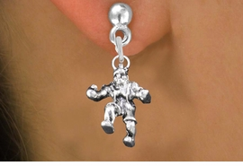 <br>     WHOLESALE SPORTS FASHION EARRINGS <bR>                 EXCLUSIVELY OURS!! <BR>            AN ALLAN ROBIN DESIGN!! <BR>      CADMIUM, LEAD & NICKEL FREE!! <BR>    W1553SE - DETAILED 3D SILVER TONE <Br>WRESTLER IN POSE CHARM EARRINGS <BR>          FROM $3.65 TO $8.40 �2014