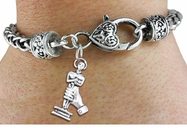 <bR>    WHOLESALE FASHION CHARM BRACELET <BR>                     EXCLUSIVELY OURS!! <BR>                AN ALLAN ROBIN DESIGN!! <BR>          CADMIUM, LEAD & NICKEL FREE!! <BR>        W1556SB - DETAILED 3D SILVER TONE  <BR>ACADEMY ACTING AWARD CHARM & HEART CLASP <BR>      BRACELET FROM $4.40 TO $9.20 �2014