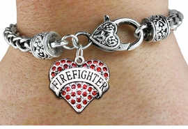 "<BR>  WHOLESALE HEART FASHION JEWELRY <bR>                   EXCLUSIVELY OURS!! <Br>              AN ALLAN ROBIN DESIGN!! <BR>        LEAD, NICKEL & CADMIUM FREE!! <BR>   W1557SB - ANTIQUED SILVER TONE AND <BR>RED CRYSTAL ""FIREFIGHTER"" HEART CHARM <BR>      ON HEART LOBSTER CLASP BRACELET <Br>        FROM $5.98 TO $12.85 �2014"