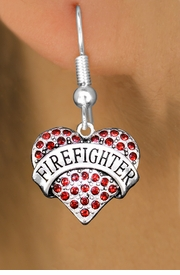 "<BR>  WHOLESALE HEART FASHION EARRINGS <bR>                 EXCLUSIVELY OURS!! <Br>            AN ALLAN ROBIN DESIGN!! <BR>      LEAD, NICKEL & CADMIUM FREE!! <BR>  W1557SE - ANTIQUED SILVER TONE AND <BR>RED CRYSTAL ""FIREFIGHTER"" HEART CHARM <BR>    EARRINGS FROM $5.40 TO $10.45 �2014"