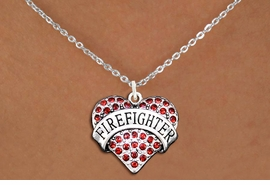 "<BR>       WHOLESALE FASHION HEART JEWELRY <bR>                     EXCLUSIVELY OURS!! <Br>                AN ALLAN ROBIN DESIGN!! <BR>       CLICK HERE TO SEE 1000+ EXCITING <BR>             CHANGES THAT YOU CAN MAKE! <BR>          LEAD, NICKEL & CADMIUM FREE!! <BR>     W1557SN - ANTIQUED SILVER TONE AND <BR> RED CRYSTAL ""FIREFIGHTER"" HEART CHARM <BR>      NECKLACE FROM $5.40 TO $9.85 �2014"