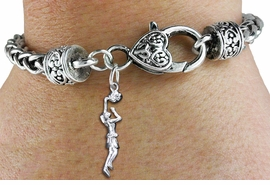 <bR>    WHOLESALE SPORTS CHARM BRACELET <BR>                     EXCLUSIVELY OURS!! <BR>                AN ALLAN ROBIN DESIGN!! <BR>          CADMIUM, LEAD & NICKEL FREE!! <BR>        W1558SB - DETAILED 3D SILVER TONE LADY <BR>BASKETBALL DUNK CHARM & HEART CLASP <BR>      BRACELET FROM $4.40 TO $9.20 �2014