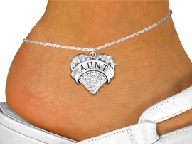 "<bR>      WHOLESALE FASHION COSTUME JEWELRY <BR>                     EXCLUSIVELY OURS!! <BR>                AN ALLAN ROBIN DESIGN!! <BR>          LEAD, NICKEL & CADMIUM FREE!! <BR>     W1559SAK - SILVER TONE AND GENUINE <BR>CLEAR CRYSTAL ""AUNT"" HEART CHARM <Br>   AND ANKLET FROM $4.70 TO $9.35 �2014"