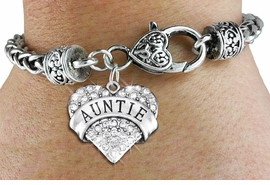 "<BR>  WHOLESALE HEART FASHION JEWELRY <bR>                   EXCLUSIVELY OURS!! <Br>              AN ALLAN ROBIN DESIGN!! <BR>        LEAD, NICKEL & CADMIUM FREE!! <BR>   W1560SB - ANTIQUED SILVER TONE AND <BR>CLEAR CRYSTAL ""AUNTIE"" HEART CHARM <BR>      ON HEART LOBSTER CLASP BRACELET <Br>        FROM $5.98 TO $12.85 �2014"
