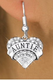 "<BR>  WHOLESALE HEART FASHION EARRINGS <bR>                 EXCLUSIVELY OURS!! <Br>            AN ALLAN ROBIN DESIGN!! <BR>      LEAD, NICKEL & CADMIUM FREE!! <BR>  W1560SE - ANTIQUED SILVER TONE AND <BR>CLEAR CRYSTAL ""AUNTIE"" HEART CHARM <BR>    EARRINGS FROM $5.40 TO $10.45 �2014"
