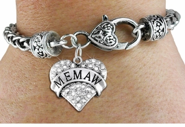 "<BR>  WHOLESALE HEART FASHION JEWELRY <bR>                   EXCLUSIVELY OURS!! <Br>              AN ALLAN ROBIN DESIGN!! <BR>        LEAD, NICKEL & CADMIUM FREE!! <BR>   W1561SB - ANTIQUED SILVER TONE AND <BR>CLEAR CRYSTAL ""MEMAW"" HEART CHARM <BR>      ON HEART LOBSTER CLASP BRACELET <Br>        FROM $5.98 TO $12.85 �2014"