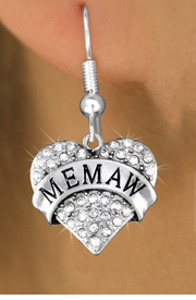 "<BR>  WHOLESALE HEART FASHION EARRINGS <bR>                 EXCLUSIVELY OURS!! <Br>            AN ALLAN ROBIN DESIGN!! <BR>      LEAD, NICKEL & CADMIUM FREE!! <BR>  W1561SE - ANTIQUED SILVER TONE AND <BR>CLEAR CRYSTAL ""MEMAW"" HEART CHARM <BR>    EARRINGS FROM $5.40 TO $10.45 �2014"