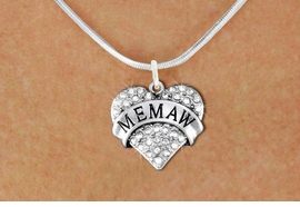 "<BR>       WHOLESALE FASHION HEART JEWELRY <bR>                     EXCLUSIVELY OURS!! <Br>                AN ALLAN ROBIN DESIGN!! <BR>       CLICK HERE TO SEE 1000+ EXCITING <BR>             CHANGES THAT YOU CAN MAKE! <BR>          LEAD, NICKEL & CADMIUM FREE!! <BR>     W1561SN - ANTIQUED SILVER TONE AND <BR>CLEAR CRYSTAL ""MEMAW"" HEART CHARM <BR>      NECKLACE FROM $5.40 TO $9.85 �2014"