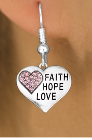 "<BR>  WHOLESALE HEART FASHION EARRINGS <bR>                 EXCLUSIVELY OURS!! <Br>            AN ALLAN ROBIN DESIGN!! <BR>      LEAD, NICKEL & CADMIUM FREE!! <BR>  W1562SE - ANTIQUED SILVER TONE AND PINK <BR>CRYSTAL ""FAITH, HOPE, LOVE"" HEART CHARM <BR>    EARRINGS FROM $5.40 TO $10.45 �2014"